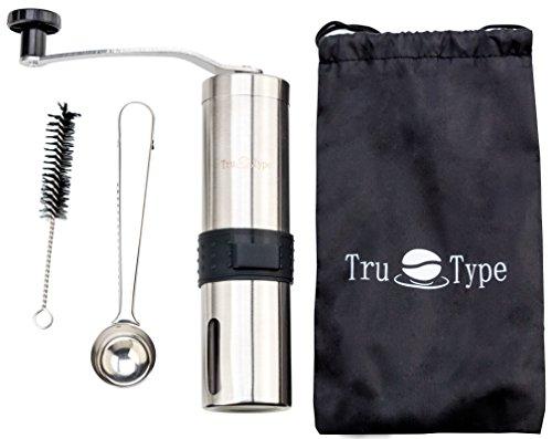 MANUAL CONICAL BURR COFFEE GRINDER – slim design, ceramic, stainless steel, Adjustable grinder for varied coarseness of beans by Tru-Type (Image #5)