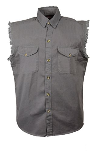 (Milwaukee Performance Men's Lightweight Sleeveless Denim Shirt (Grey,)