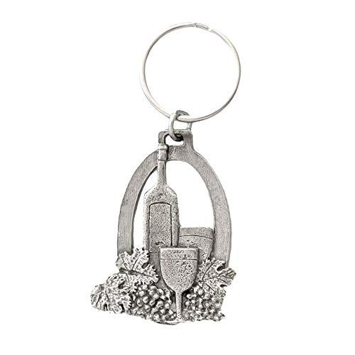 Wine Bottle & Glass Pewter Key Chain, Key Fob, Key Ring, Gift, A225KC