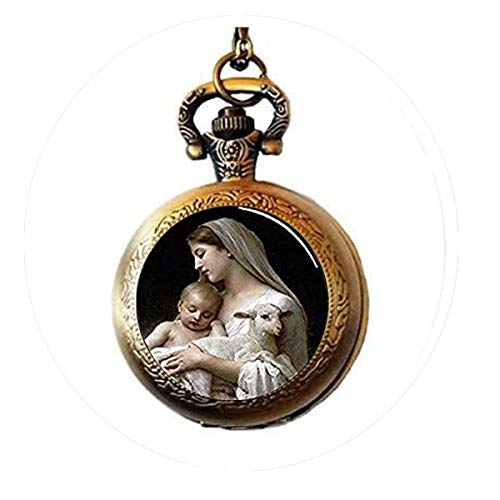 (Nativity Keychain,Virgin Mary Jesus and Lamb Keychain, Spiritual Pocket Watch Necklace Charm Bible Quote Pendant Religious)