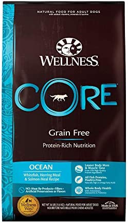 Wellness CORE 88414 Core Natural Grain-Free Dry Dog Food, Ocean Whitefish, Herring Salmon, 26-Pound Bag