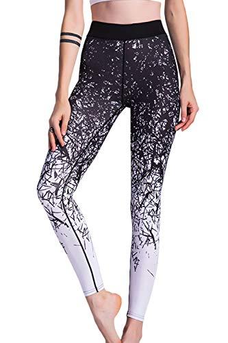 Leggins Pantalon Sur À De Entraînement Imprimé Pour Femmes Yoga Taille Haute Noir qPqpFwr