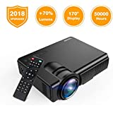 Projector, TENKER Q5 LED Mini Movie Projector Support 1080P HDMI USB TF VGA AV, Multimedia Home Theater LCD Video Projector, Black