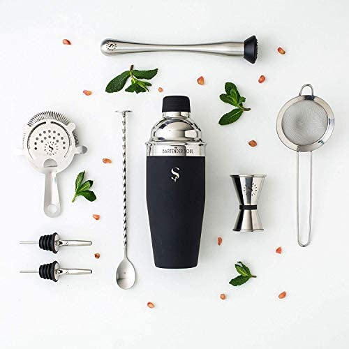 Full Professional Cocktail Set Black – 25oz 0.8mm Bar Shaker with 3 Densities Strainers, Jigger, Muddler, Spoon, Pourers and Recipes – All 18 8 Quality Stainless Steel – Heavy Duty Reliable Tool Kit