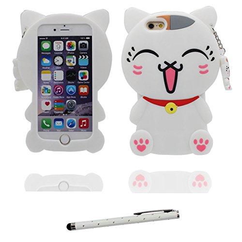 """iPhone 7 (4.7"""") Coque, [ de matériau TPU souple blanc chat ] iPhone 7 étui (4.7 pouces), poussière glissement résistant aux rayures, iPhone 7 Case et stylet"""