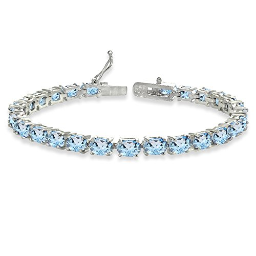 Jewelry Box Topaz Oval - Sterling Silver 6X4mm Blue Topaz Oval-cut Tennis Bracelet