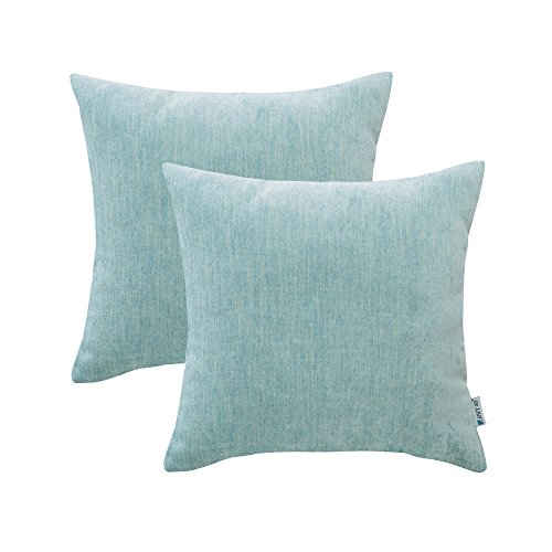 (HWY 50 Cotton Linen Soft Comfortable Natural Soild Decorative Throw Pillow Covers Sets Cushion Case for Couch Sofa Bed Living Room Aqua 18 x 18 Inches Pack of 2)