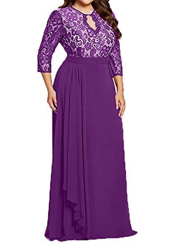 Ballkleider Uebergroesse Abendkleider Violett Brautmutterkleider mia Festlich Lang La Braut Promkleider Langarm qPAaxR7