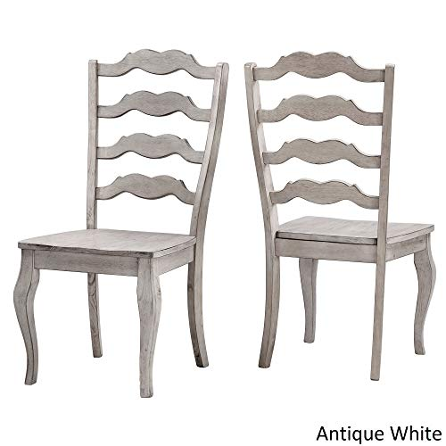 Inspire Q Eleanor French Ladder Back Wood Dining Chair (Set of 2) by Classic Antique White Antique (Kitchen Chairs French)