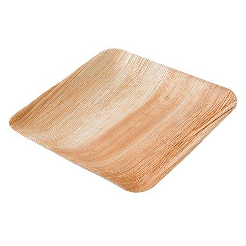 kaufdichgruen.de DTW05359 Einwegteller aus Palmblatt, 25 Stück, eckig, 20x20 cm, kompostierbar