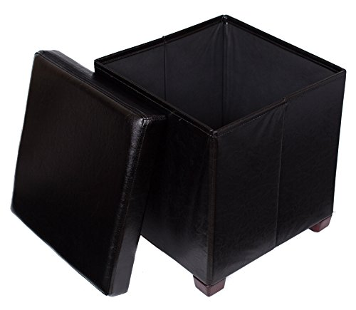 (BIRDROCK HOME Faux Leather Folding Storage Ottoman with Legs| 16 x 16 | Strong and Sturdy | Quick and Easy Assembly | Foot Stool | Black)