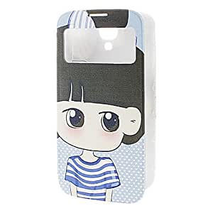 TOPQQ Cartoon Girl With Blue&White Stripe T-Shirt Pattern Leather Case for Samsung S4