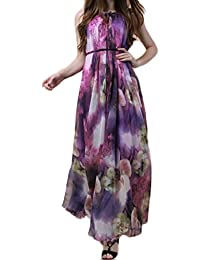 Women s Sexy Print Floral Sleeveless Beach Swing Party Maxi Dress a0ed4c4f2