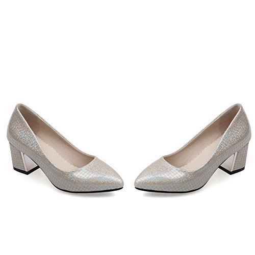 Amoonyfashion Donna Solido Materiale Misto Tacchi Gattino A Punta Chiusa Tira Su Pompe-scarpe Oro