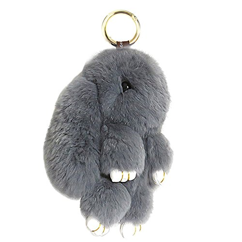 HXINFU Soft Cute Rabbit Fur Pom Pom Keychain Fluffy Real Rex Bunny Keychain Decoration