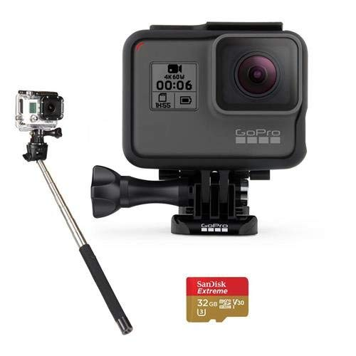 GoPro HERO6 Black - Bundle with 32GB SDHC Card, and Selfie Stick