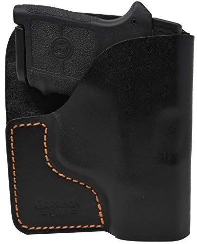 Garrison Grip Premium Stitch Black Italian Leather Pocket Holster for S & W Bodyguard 380
