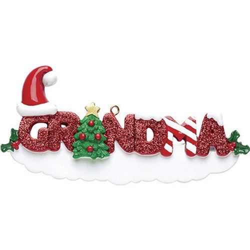 (Personalized Grandma Christmas Ornament 2018 - Glitter Red Word with Holly Santa Hat Green Tree - Worlds Greatest Kids Love Member Memory Tradition Special Forever Candy cane - Free Customization)