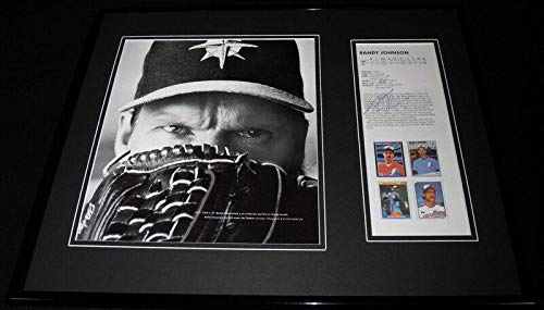 (Autographed Randy Johnson Picture - Framed 16x20 Set Yankees - JSA Certified - Autographed MLB Photos)