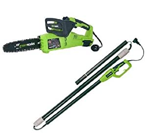 GreenWorks 20062 10-Inch 7 Amp Electric Pole Saw /Tree Pruner/Chain Saw  2-in-1 with 8-Foot Pole Extension