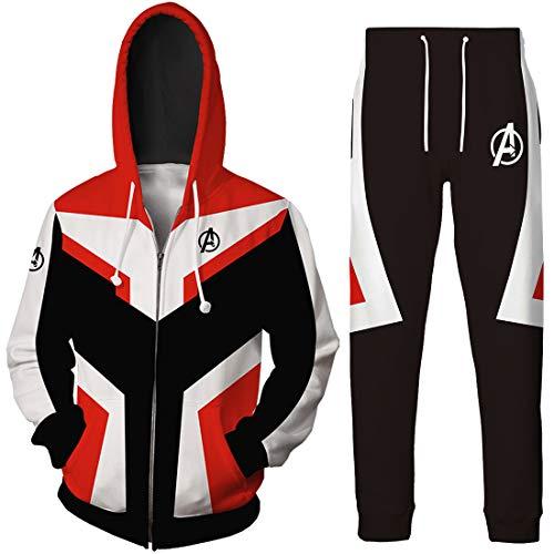 EMILYLE Boy Avengers Suits Endgame Cosplay Quantum Realm Superhero Athletic Suit(M,Red Zip-4)