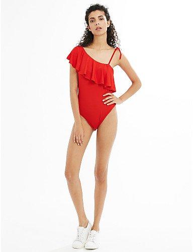 HHBO Mujer Con Cordones Una Pieza Color Único Sólido Red