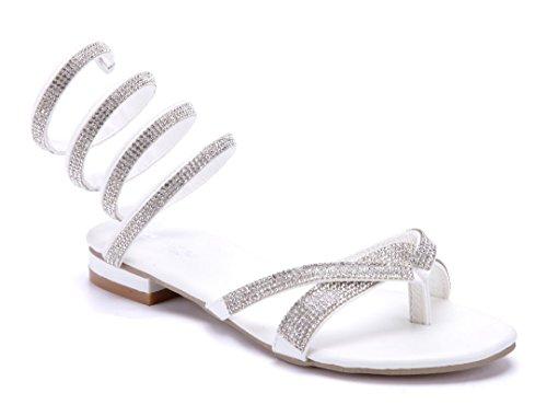 ace918e4c084c2 Schuhtempel24 Damen Schuhe Zehentrenner Sandalen Sandaletten Flach  Ziersteine 2 cm Weiß