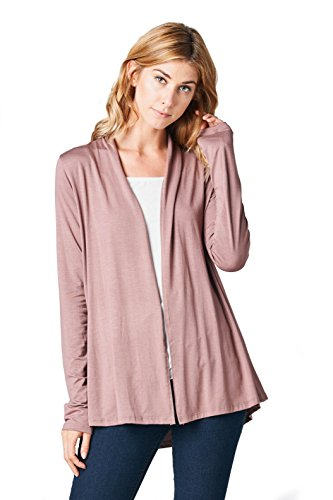 - ReneeC. Women's Extra Soft Natural Bamboo Open Front Cardigan - Made in USA (Small, Coco)