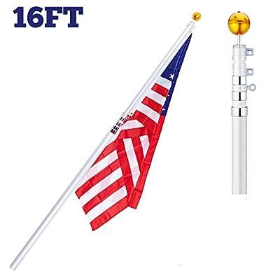 CO-Z 16' Tlescoping Aluminum Flag Pole Kit 4-Section falgpole for 1 US flag