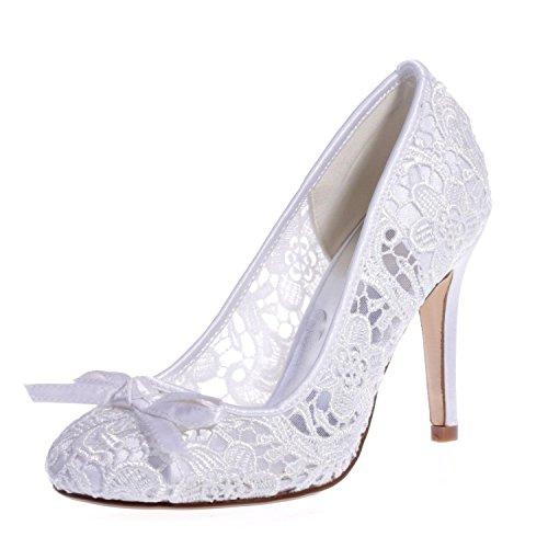 L@YC 5623-10 Zapatos De La Boda De Las Mujeres / Cordones De La Comodidad / Punta Cerrada / Fiesta Nocturna Y Consejos De Gran TamañO / Varios Colores White