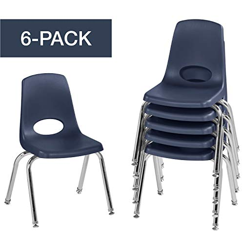 Stack Chair, Stacking Student Chairs with Chromed Steel Legs and Swivel Glides, Navy (6 Chair Pack) ()