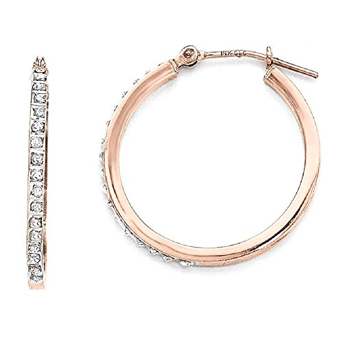 ICE CARATS 14k Rose Gold Diamond Fascination Round Hinged Hoop Earrings Ear Hoops Set For Women by ICE CARATS