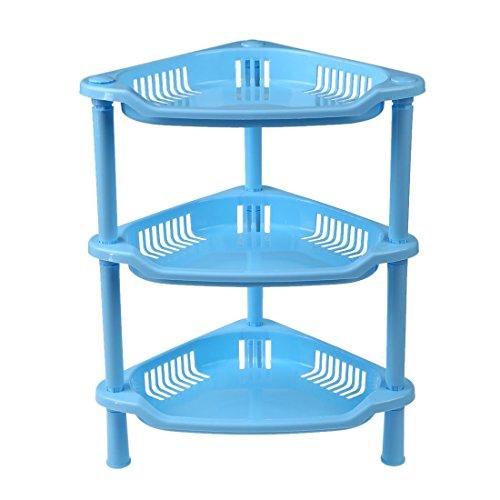 SODIAL(R) 3 Tier Plastic Corner Shelf Organizer Cabinet Bathroom Kitchen Sundries Storage Rack Blue (Plastic Tier Light)