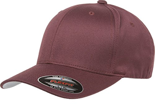 - Flexfit Wooly Combed Twill Cap - 6277 (Large/XLarge, Maroon)