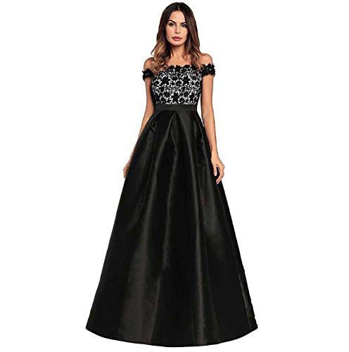 (Women Off The Shoulders High Waist Satin Evening Dress Swing Dress Formal Solid Lace Stitching Princess Dress Party Dre Eu Size S-XXL (Color : Black, Size : M))