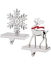 GUDELAK Christmas Stocking Holders for Fireplace Mantle, Set of 2, Silver Snowflake Stocking Holder & Reindeer Stocking Hanger with Hook for Fireplace Mantle Christmas Decorations, Can Bear Within 2Kg