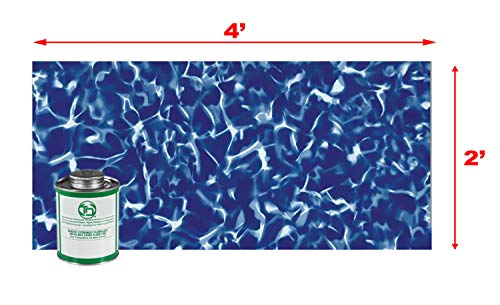 (Blue Sparkle LARGE 4' x 2' UNDERWATER Swimming Pool Vinyl Liner Repair Kit)