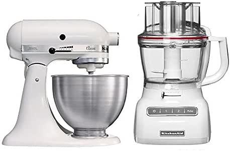 KitchenAid Classic 5K45SS y 5KFP1325EWH - Robot de cocina con base y robot procesador: Amazon.es: Bricolaje y herramientas