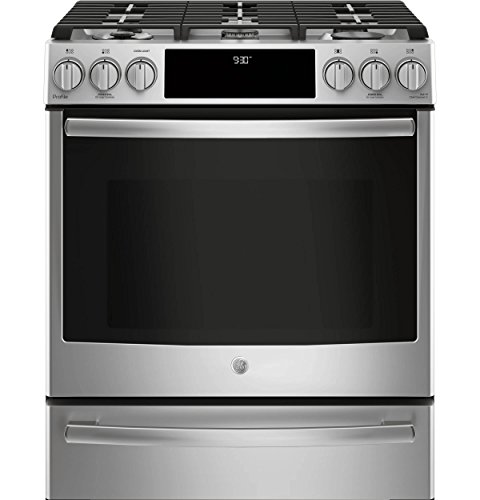 """Price comparison product image GE Profile P2S930SELSS 30"""" Inch Smart Slide-in Dual Fuel Range with Sealed Burner Cooktop,  4.5 cu. ft. Primary Oven Capacity in Stainless Steel"""