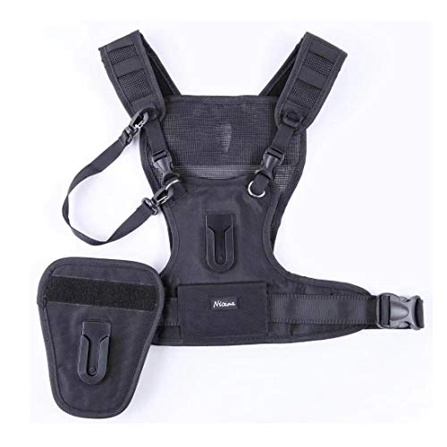 (Nicad Multi Camera Carrying Chest Harness Vest System with Side Holster and Secure Straps for Canon Nikon Sony Panasonic Olympus DSLR Cameras)