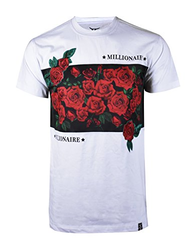 SCREENSHOTBRAND-S11846 Mens Hipster Hip-Hop Premium Tees - Stylish Longline Fashion Jersey T-Shirt Rose Embroidery -