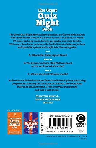 The Great Quiz Night Book (Quiz Books): Amazon co uk