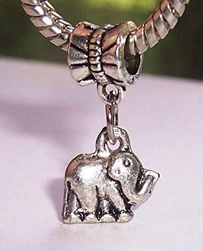 Elephant Zoo Safari Africa Animal Dangle Charm for European Bead Slide Bracelets Crafting Key Chain Bracelet Necklace Jewelry Accessories Pendants