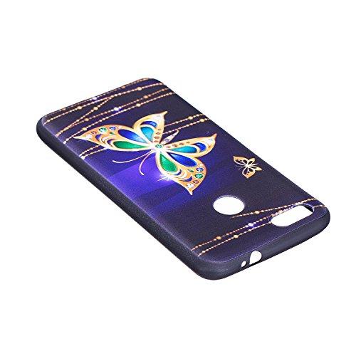 Funda para Huawei Y6 Pro 2017 / P9 Lite Mini , IJIA Mariposa TPU Negro Silicona Suave Cover Soft Case Tapa Caso Parachoques Carcasa Cubierta para Huawei Y6 Pro 2017 / P9 Lite Mini (5.0) (BF38)