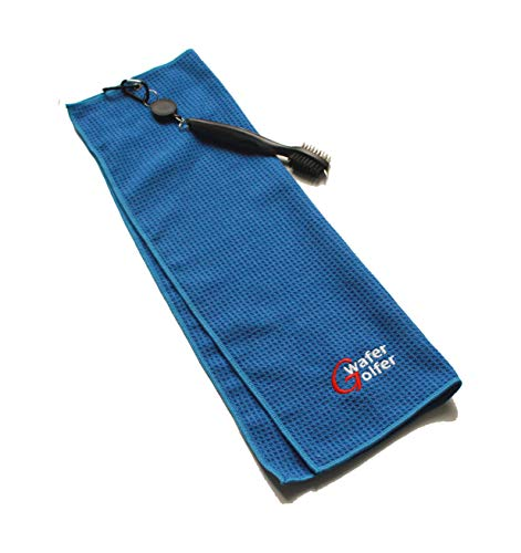 Microfiber Deep Waffle Weave Golf Towel,Light Weight & Quick Drying. Best for Cleaning All Types of Clubs, Irons & Drivers. (Blue Towel with Brush) ()