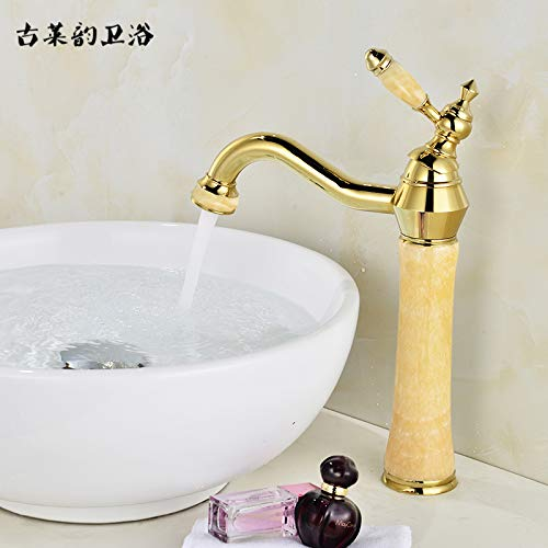 R redOOY Faucet Taps Natural Jade Above Counter Basin Hot And Cold Faucet Full Copper gold Art Basin Marble Antique Faucet, golden Topaz [Waterfall]