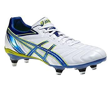 Asics Lethal Flash DS 3 ST Rugby Boot White Blue and Neon Yellow 7