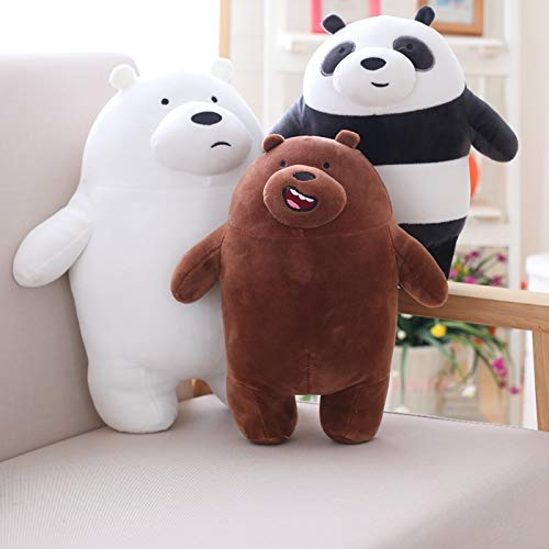 Lalaland12 Others - 27cm Kawaii We Bare Bears Plush Toy Cartoon Bear Stuffed Grizzly Gray White Bear Panda Doll Kids Love Birthday Gift 1 PCs from Lalaland12