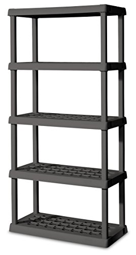 5 Industrial Duty Shelf - Sterilite 01553V01 5 Shelf Unit, Flat Gray Shelves & Legs, 1-Pack