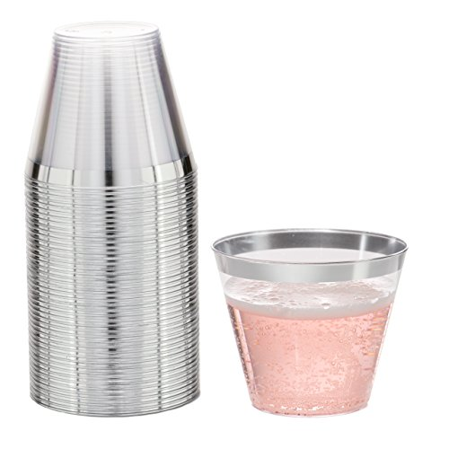 - DRINKET Silver Plastic Cups 9 oz Clear Plastic Cups / Tumblers Fancy Plastic Wedding Cups With Silver Rim 50 Ct Disposable For Party Holiday and Occasions SUPER VALUE PACK